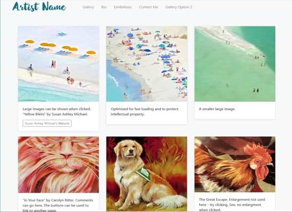 custom website artist gallery